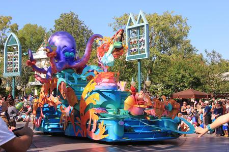 Anaheim, California, USA - May 30, 2014: Little Mermaid in Disney Parade at Disneyland, California.