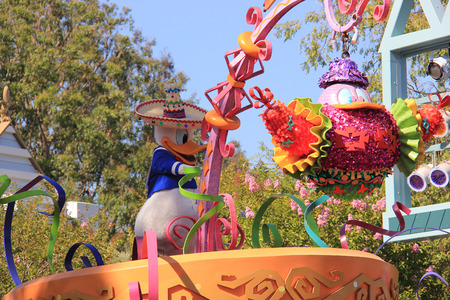 Anaheim, California, USA - May 30, 2014: Donald Duck in Disney Parade at Disneyland, California.