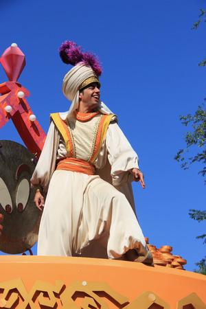 Anaheim, California, USA - May 30, 2014: Aladdin in Disney Parade at Disneyland, California.