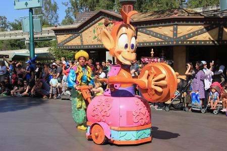 Anaheim, California, USA - May 30, 2014: Characters frin Aladdin in Disney Parade at Disneyland, California.