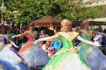 Anaheim, California, USA - May 30, 2014: Performers in Beautiful Princess Dresses in Disney Parade at Disneyland, California