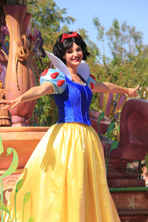 Anaheim, California, USA - May 30, 2014: Snow White in Disney Parade at Disneyland, California Editorial
