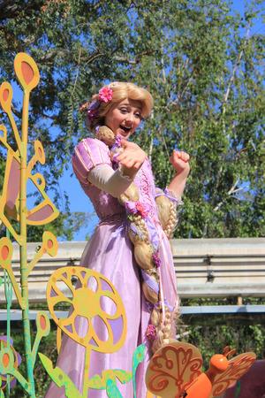 rapunzel: Anaheim, California, USA - May 30, 2014: Rapunzel in Disney Parade at Disneyland, California