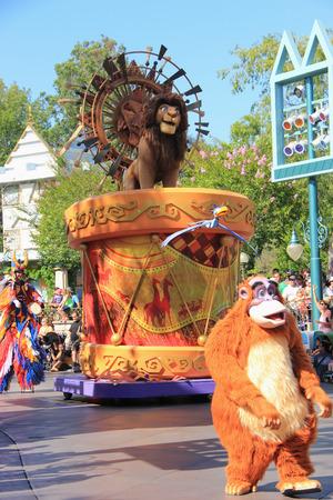 Anaheim, California, USA - May 30, 2014: Lion King in Disney Parade at Disneyland