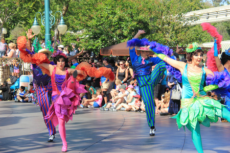 Anaheim, California, USA - May 30, 2014: Performers are dancing in Disney Parade at Disneyland