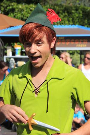 tinker bell: Anaheim, California, USA - May 30, 2014: Peter Pan in Disney Parade at Disneyland Editorial