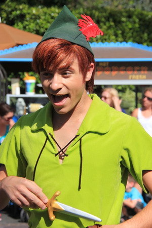Anaheim, California, USA - May 30, 2014: Peter Pan in Disney Parade at Disneyland Redakční