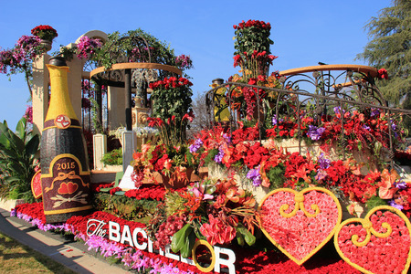 Pasadena, California, USA - January 3, 2015: Beautiful floats are displayed in the post-parade, a showcase of floats from the Rose Parade - America Editorial