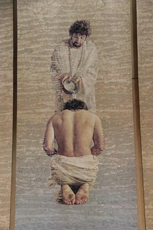 battesimo: Los Angeles, California, USA - 27 Luglio 2014: La Cattedrale di Nostra Signora degli Angeli o COLA o Cattedrale di Los Angeles, una cattedrale di rito latino della Chiesa cattolica romana in Los Angeles, California Editoriali