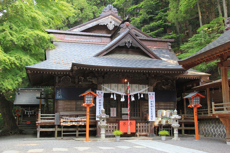 Fujuyoshida, Japan - May 26, 2013: Shiogama Shrine near Chureito Pagoda, where tourists like to go to take photos with Fuji Mountain in Japan