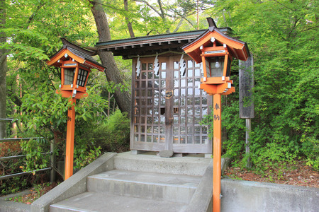 Shiogama Shrine near Chureito Pagoda, where tourists like to go to take photos with Fuji Mountain in Japan