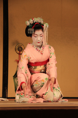 maiko: Kyoto, Japan - May 27, 2013: Maiko performs Kyo-mai Dance, Kyoto style dance. Editorial