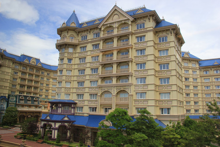Tokyo, Japan - May 29, 2013: The Tokyo Disneyland Hotel, the fourth Disneyland Hotel, was designed to reflect early 20th century Victorian architectural style.