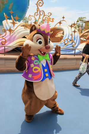 Tokyo, Japan - May 29, 2013: Dale, one of two chipmunk cartoon characters from Chip and Dale, is greeting tourists at Tokyo DisneySea.