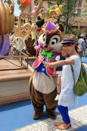 Tokyo, Japan - May 29, 2013: Chip, one of two chipmunk cartoon characters from Chip and Dale, is greeting tourists at Tokyo DisneySea. 報道画像