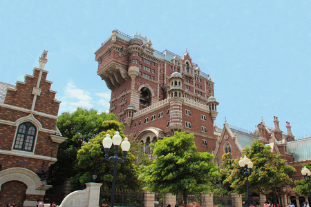 Tokyo, Japan - May 29, 2013: The Twilight Zone Tower of Terror, located at American Waterfront, Tokyo DisneySea, is an accelerated drop tower dark ride taking place in the fictional Hotel Hightower.