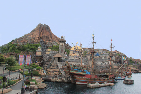Tokyo, Japan - May 29, 2013: Mount Prometheus at Mediterranean Harbor is the icon of Tokyo DisneySea, the fourth-most-visited theme park and the most expensive theme park ever built.