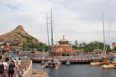 trackless: Tokyo, Japan - May 29, 2013: Port Discovery at Tokyo DisneySea is themed as the marina of the future. It is somewhat of a cross between the never-built Discovery Bay concept for Disneyland and Discoveryland in Disneyland Park Paris. Editorial
