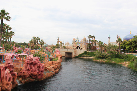 Tokyo, Japan - May 29, 2013: Scenery of Mermaid Lagoon, home to the characters of The Little Mermaid, and Arabian Coast, an exotic Arabian harbor combined with an enchanted world from 1001 Arabian Nights, at Tokyo DisneySea