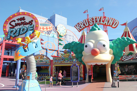 Los Angeles, California, USA - March 12, 2015: The Simpsons Ride, located on upper lot of Universal Studios Hollywood, is a family friendly simulator adventure through Springfield. 報道画像
