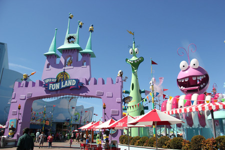 Los Angeles, California, USA - March 12, 2015: Super Silly Fun Land is a new elaborate play zone designed to entertain guests with its more than 80 different water-play features at Universal Studios Hollywood.