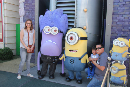 theme parks: Los Angeles, California, USA - March 12, 2015: The character Minions is greeting tourists at Universal Studios Hollywood, which is the first film studio and theme park of Universal Studios Theme Parks across the world.
