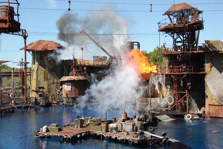 hollywood star: Los Angeles, California, USA - March 12, 2015: Water Stunt Show called Waterworld: A Live Sea War Spectacular at Universal Studios Hollywood