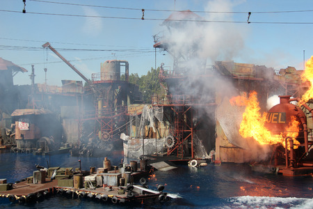 Los Angeles, California, USA - March 12, 2015: Water Stunt Show called Waterworld: A Live Sea War Spectacular at Universal Studios Hollywood