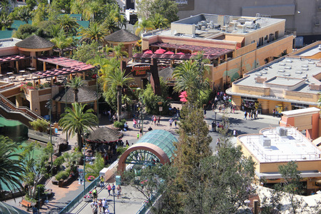 thrill: Los Angeles, California, USA - March 12, 2015: Scenery of the lower lot of Universal Studios Hollywood, which provides three thrill rides - Jurassic Park, Revenge of the Mummy and Transformers.