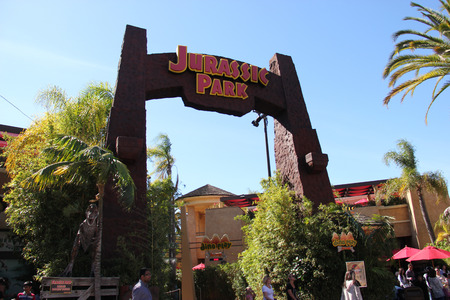 Los Angeles, California, USA - March 12, 2015: Scenery of Jurassic Park The Ride at the lower lot of Universal Studios Hollywood.