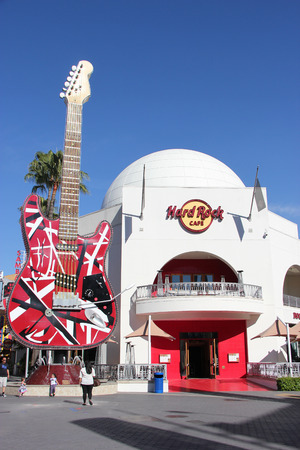 hard rock cafe: Los Angeles, California, USA - March 12, 2015: Hard Rock Cafe, a chain of theme restaurant covering its walls with rock and roll memorabilia, at Universal CityWalk Hollywood. Editorial