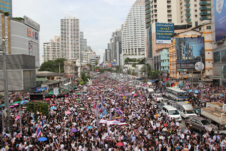 Bangkok, Thailand - November 7, 2013: Protestors hold an anti-government rally and gather together at Asok Intersection to blow whistles to make symbolic protest against the amnesty bill.