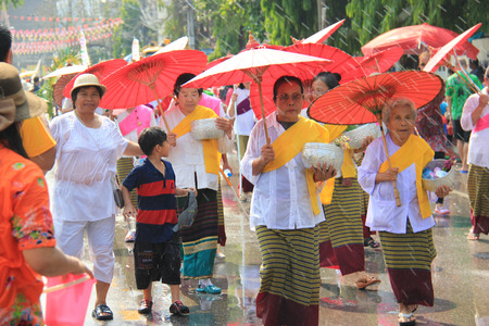 Chiangrai, Thailand - April 13, 2014: Songkran Festival, a famous festival in Thailand, is the traditional Thais