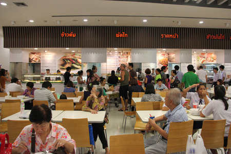 Bangkok Thailand  April 16 2015: People are eating at food court at Tesco Lotus a hypermarket chain in Thailand.
