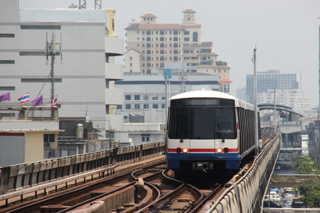 elevated: Elevated Train or Skytrain System in Bangkok Thailand Editorial