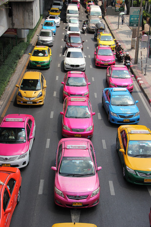 happens: Bangkok Thailand  April 16 2015: Traffic jam is the main problem that happens regularly in Bangkok Thailand.