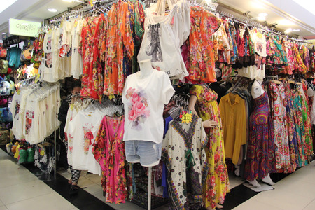 Bangkok Thailand  April 16 2015: Many styles of clothes are displayed for customers to chose at Platinum Fashion Mall a shopping mall specializing in fashion clothes and accessories retail and wholesale in Bangkok Thailand.