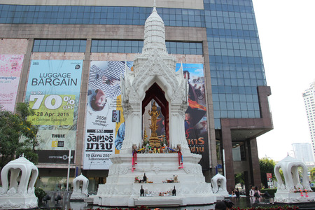 Bangkok Thailand  April 16 2015: Trimurti Shrine located in front of Central World is known as God of Love granting happiness in romance.