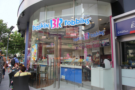 Bangkok Thailand  April 16 2015: Baskin Robbins known for its 31 flavors slogan is the world's largest chain of ice cream specialty shops based in Canton Massachusetts.
