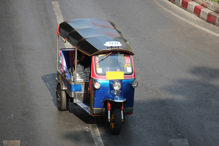 tuktuk: The auto rickshaw known as tuktuk is a widely used form of urban transportation in Bangkok and other Thai cities. It is one of symbols of Thailand.