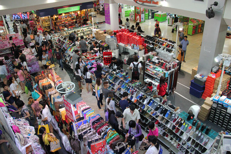 Bangkok Thailand  April 16 2015: Customers are choosing products on sales at a shopping center in Bangkok.