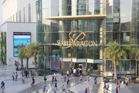 Bangkok Thailand  Siam Paragon is one of the biggest shopping centers in Asia. It has specialty stores restaurants movie theater the largest aquarium in South East Asia exhibition hall and the Thai Art Gallery.