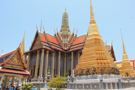 southeastern: Bangkok Thailand  April 21 2015: Emerald Buddha Temple is the most sacred Buddhist temple a potent religionpolitical symbol and the palladium of Thai society. Editorial