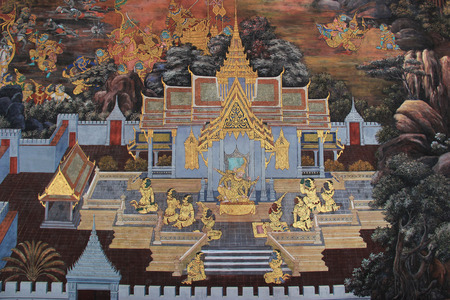 Beautiful Mural Painting which is public domain or treasure of Buddhism is painted on the wall of Emerald Buddha Temple in Bangkok Thailand. Stock Photo - 40953205
