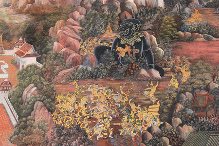 public domain: Beautiful Mural Painting which is public domain or treasure of Buddhism is painted on the wall of Emerald Buddha Temple in Bangkok Thailand. Editorial