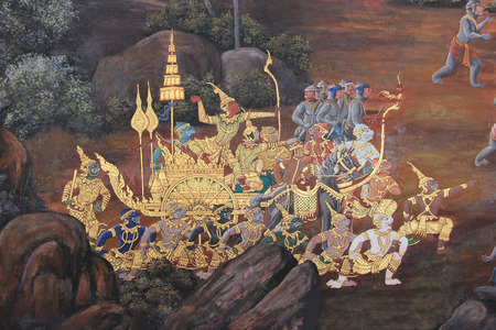 buddha: Beautiful Mural Painting which is public domain or treasure of Buddhism is painted on the wall of Emerald Buddha Temple in Bangkok Thailand. Editorial