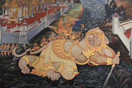 Beautiful Mural Painting which is public domain or treasure of Buddhism is painted on the wall of Emerald Buddha Temple in Bangkok Thailand. 報道画像