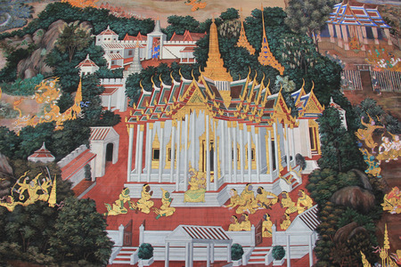Beautiful Mural Painting which is public domain or treasure of Buddhism is painted on the wall of Emerald Buddha Temple in Bangkok Thailand.