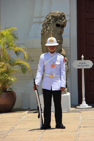 solider: Bangkok Thailand  April 21 2015: Solider is guarding the Grand Palace in Bangkok Thailand. Editorial