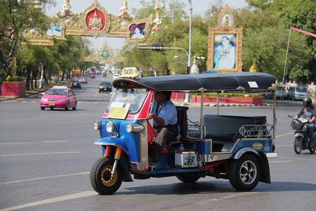 autorick: Bangkok Thailand  April 21 2015: The auto rickshaw known as tuktuk is a widely used form of urban transportation in Bangkok and other Thai cities. It is one of symbols of Thailand.
